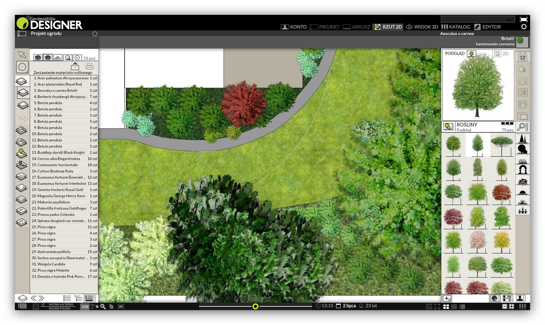 Gardenphilia Designer PRO - widok 2D